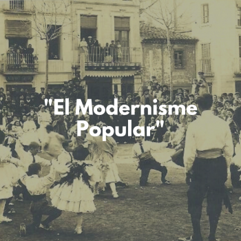"Foto antigua color sepia, criaturas bailando texto sobreimpreso : ""Modernisme popular"""